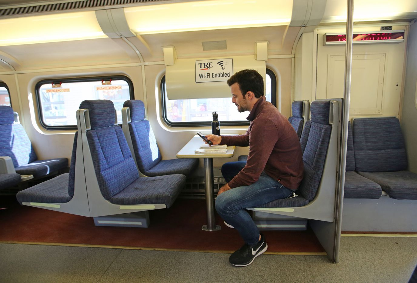 TRE trains feature booths and WiFi.