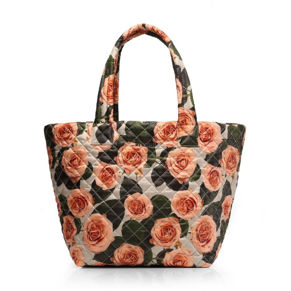 MZ Wallace quilted Medium Metro Tote in peach rose print, $215, mzwallace.com