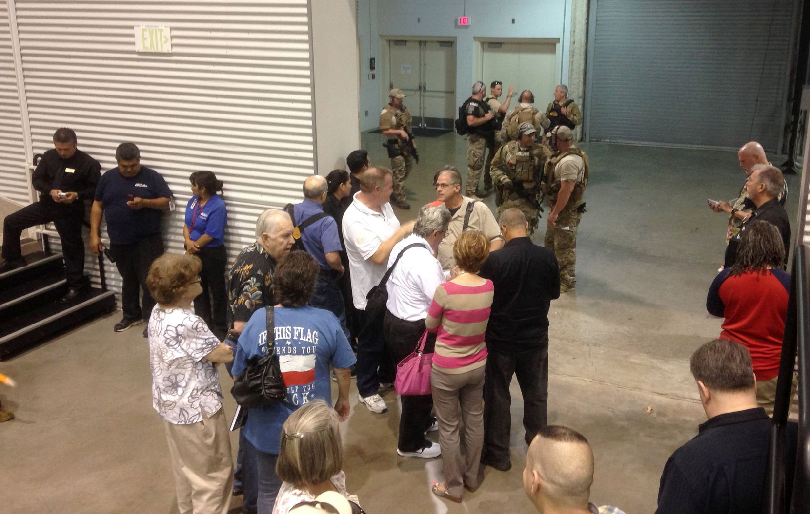 Garland officers kept attendees inside the Curtis Culwell Center after the shooting.