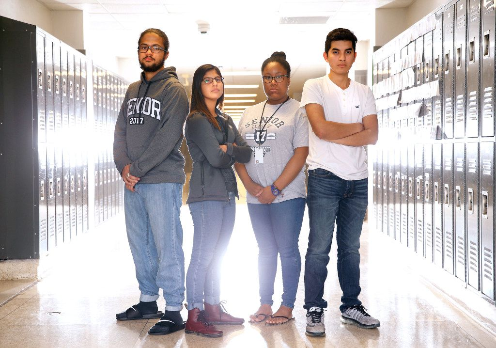 Irving High School AP government students Grant Pearson (from left), Cristella Oviedo, Neah McGlothan and Emerson Escobar give their opinions about the election. (Nathan Hunsinger/Staff Photographer)