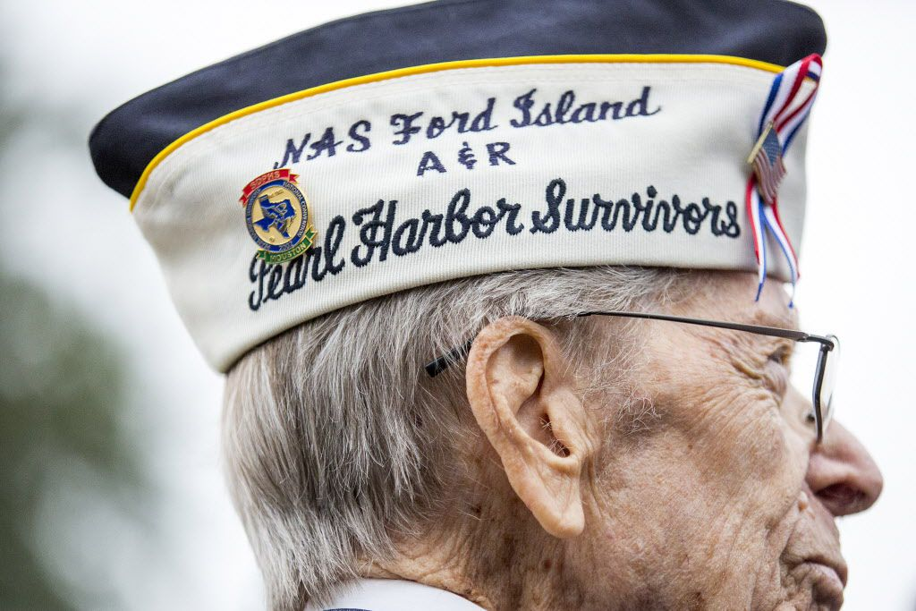 Pearl Harbor veteran Aaron Cook, 94, of Houston, who was at Ford Island during the attack on Pearl Harbor, attended an event to commemorate the 75th anniversary of the attack with other World War II veterans  at the George Bush Presidential Library at Texas A&M on Wednesday, Dec. 7, in College Station. (Smiley N. Pool/The Dallas Morning News)