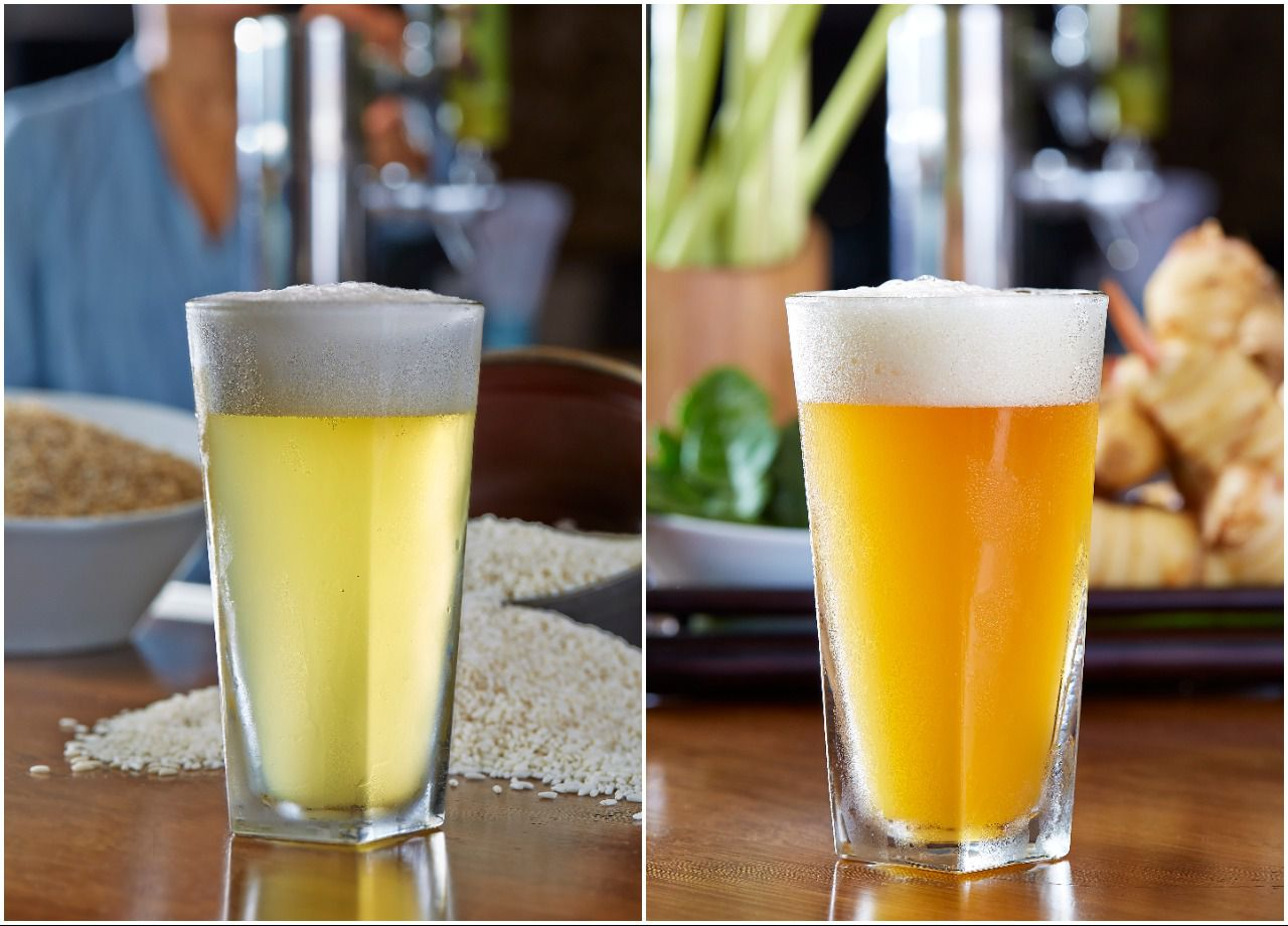 The Bia Hoi (left) and Thai-P-A (right) from Malai Kitchen, which brews its beers in-house at both restaurant location sin Dallas and Southlake.