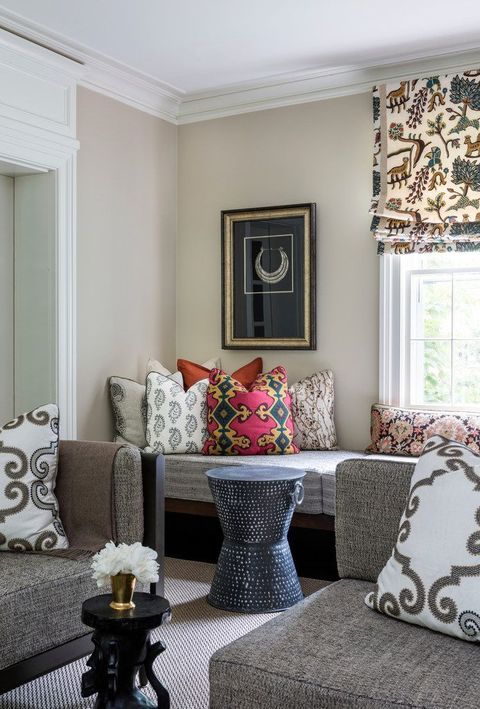 This photo provided by Marika Meyer Interiors shows a living room in Washington, D.C. Among the trends emerging for 2019 are an embrace of patterned fabrics which can be paired together, as seen in this Washington, D.C. area living room designed by interior designer Marika Meyer. (Angie Seckinger/Marika Meyer Interiors via AP)