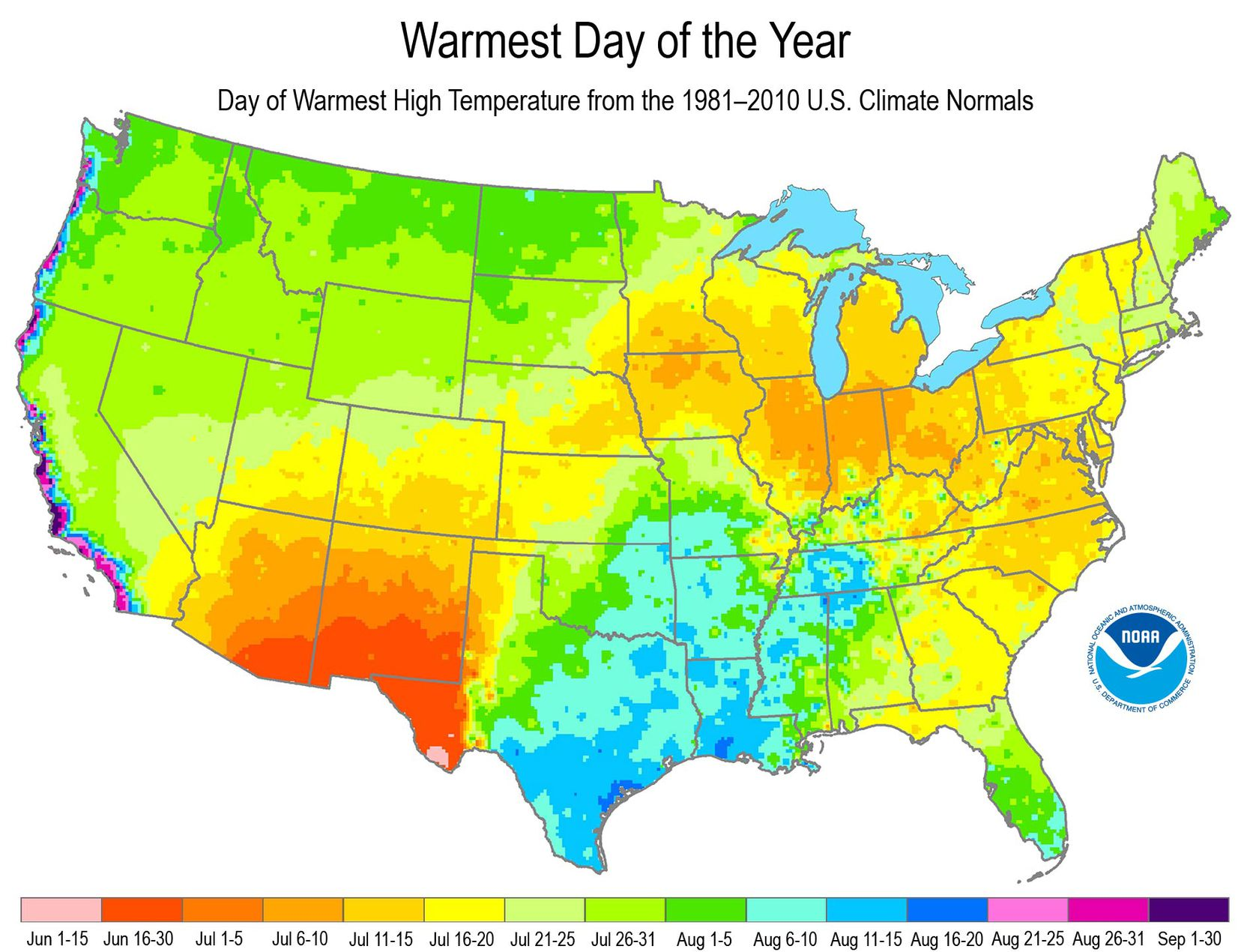 This map shows when U.S. cities typically see their hottest day of the year based on climate averages.