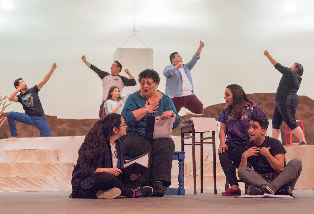 From left: Rosalinda Olivares, Cecilia Flores, Tiffany Solano DeSena, and Edwin Aguilar rehearse a scene from  Yana Wana's Legend of the Bluebonnet, a world premiere co-production by Dallas Children's Theater and Cara Mia Theatre Company at DCT.