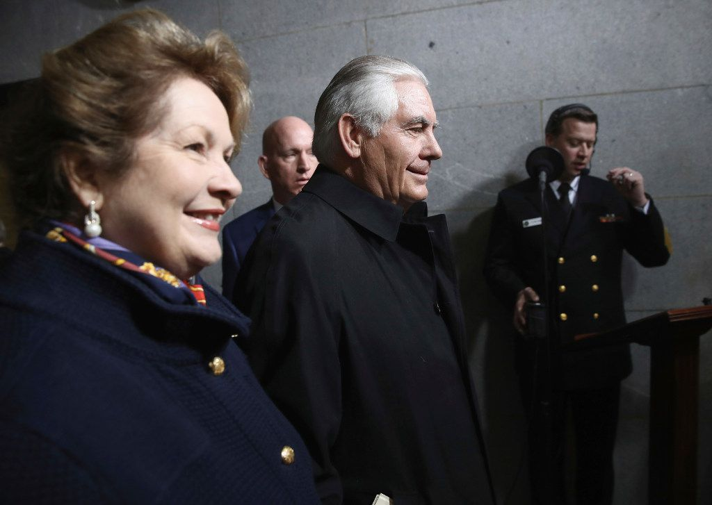 Secretary of state nominee Rex Tillerson and his wife, Renda, attended Friday's inauguration. (Win McNamee/The Associated Press)