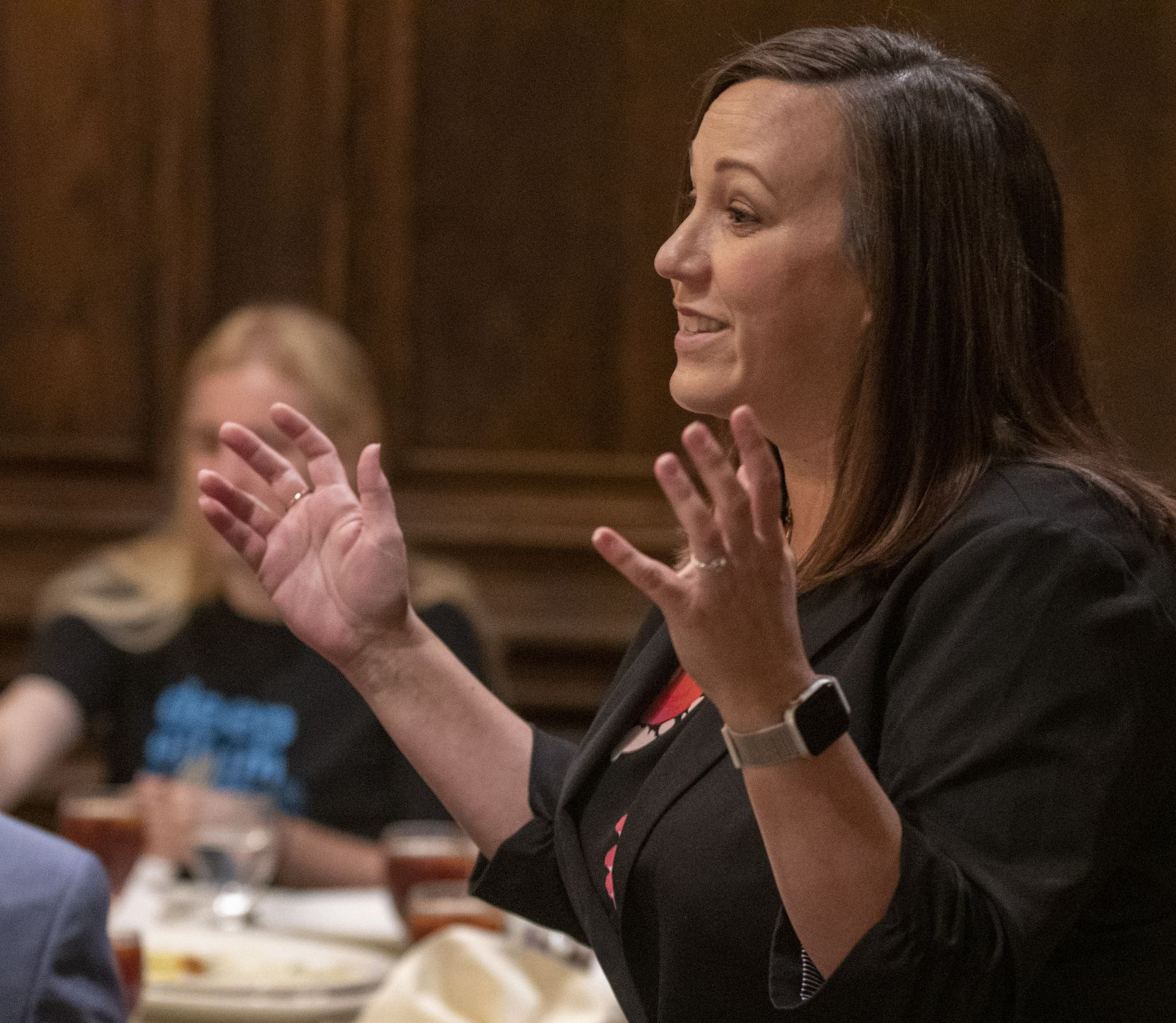 U.S. Senate candidate MJ Hegar speaks with attendees at the Dallas County Democratic Party luncheon where she was a guest speaker on July 24, 2019 at Maggiano's Little Italy restaurant at Northpark Center in Dallas, Texas.