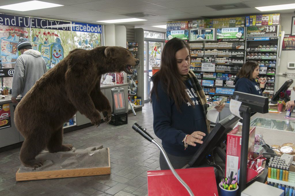 Blanca Ponce checks out customers at Fuel City.  Behind her is a stuffed brown bear, one of the many unusual features at the gas station.