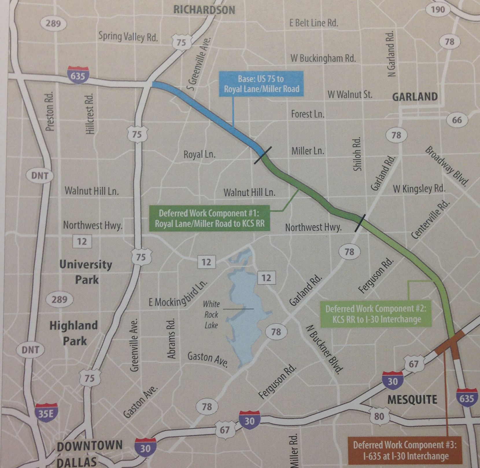 If funding is approved, the section of LBJ Freeway between Central Expressway and Royal Lane/Miller Road would be built from 2019-mid 2022, the section south to near State Highway 78 (Garland Road) would be built form 2021-23, the section farthest south to Interstate 30 would be built from 2023 to mid-2026 and the Interste 30 interchange would be rebuilt from 2025-27.