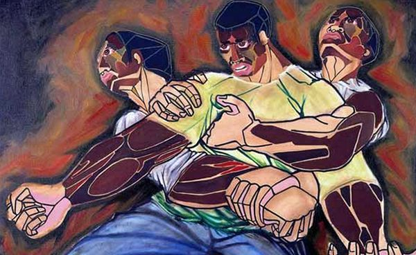 """""""Confrontation"""" by Arthello Beck Jr., 1969 — the first piece of art Calvin Hill ever bought after he was drafted by the Dallas Cowboys."""