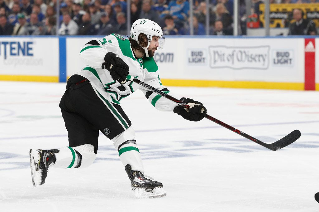 Dallas Stars center Matts Zuccarello, of Norway, plays against the St. Louis Blues during the first period in Game 5 of an NHL second-round hockey playoff series Friday, May 3, 2019, in St. Louis. (AP Photo/Jeff Roberson)