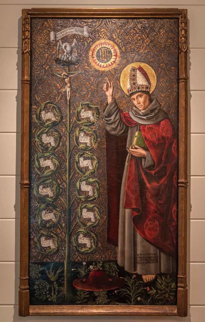 """A 1490 painting entitled """"St. Bonaventure with the Tree of Life"""" by an unknown artist hangs in the home of art collectors Tom and Jeanne Campbell."""