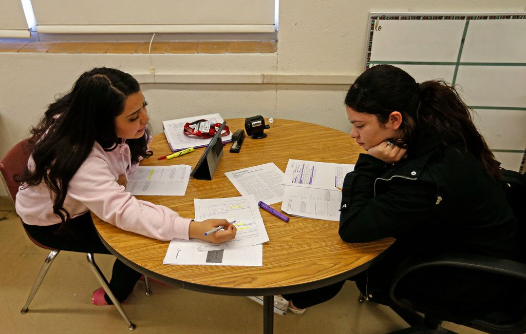 Seniors Michelle Martinez, left, and Patricia Oliva study in preparation for the Texas Success Initiative (TSI) test at W. W. Samuell High School in Dallas, Thursday, Feb. 8, 2018. The Dallas County Promise, a new initiative started by Dallas County Community College District and education non-profit Commit, launched four months ago and its aims were to boost college attendance and completion for students at 31 area high schools. Samuell High School had 100 percent of its seniors sign the pledge to attend colleges. (Jae S. Lee/The Dallas Morning News)