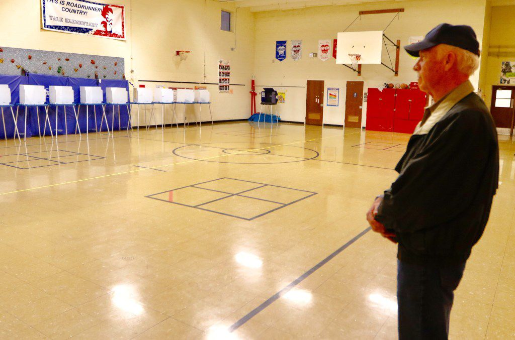 John Healy was the first person in line to vote at Yale Elementary School in Richardson on Tuesday, November 8, 2016. (David Woo/The Dallas Morning News)