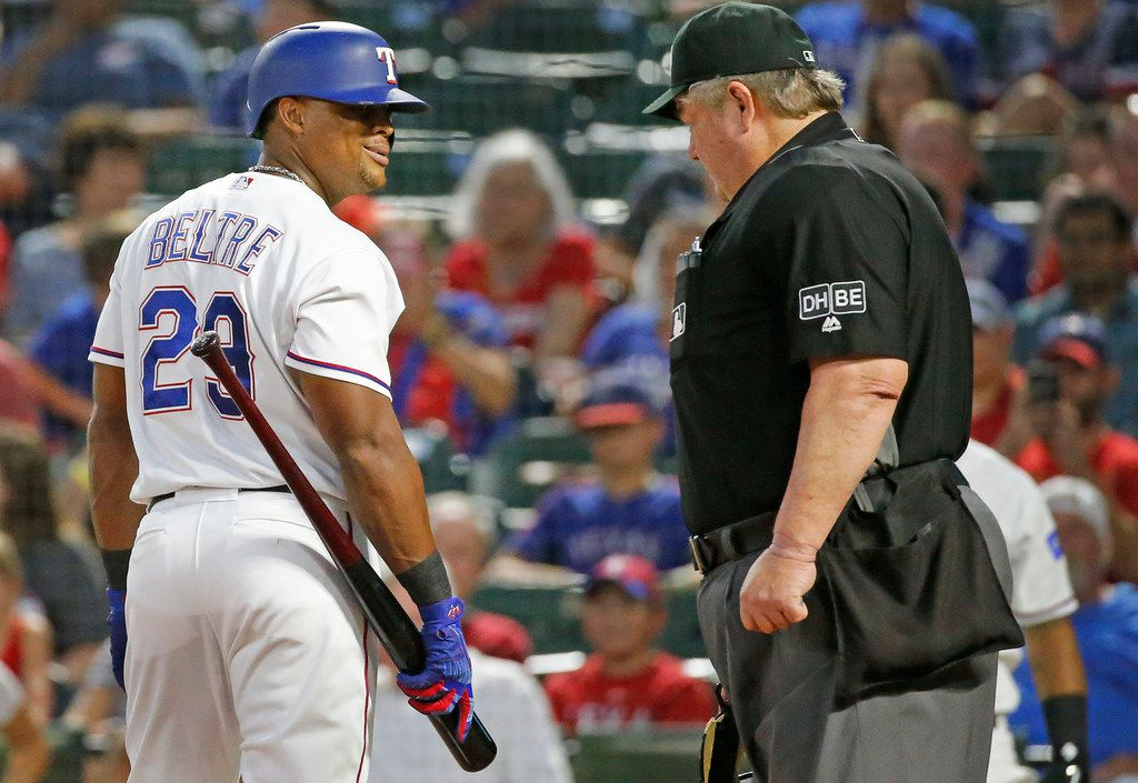 Texas Rangers designated hitter Adrian Beltre (29) talks with home plate umpire Joe West after Beltre was called out on strikes in the second inning during the Chicago White Sox vs. the Texas Rangers major league baseball game at Globe Life Park in Arlington, Texas on Saturday, June 30, 2018. (Louis DeLuca/The Dallas Morning News)
