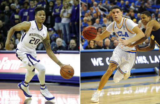 Markelle Fultz de Washington (izq.) y Lonzo Ball de UCLA son los prospectos más interesantes en el draft de la NBA. (AP Photo/Elaine Thompson)