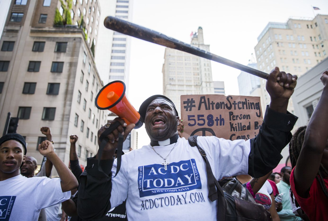 Ernest Walker and other protesters marched through downtown Dallas before a gunman opened fire on July 7.