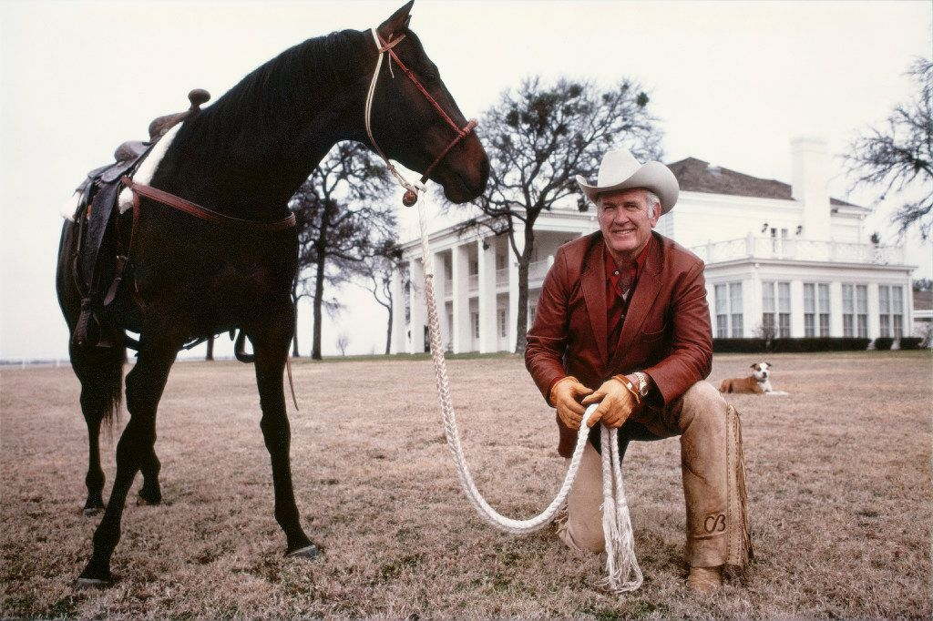 Oilman, entrepreneur and former NFL star Cloyce Box in front of his 14,000-square-foot mansion at his ranch in Frisco. In Season 1 of the TV show Dallas, the house was used as Southfork, home of the fictional Ewings.
