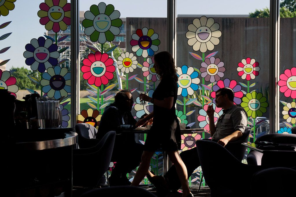 """Japanese artist Takashi Murakami's exhibit """"The Octopus Eats Its One Leg"""" adorns the walls of the cafe at the Modern Art Museum in Fort Worth, Texas on Wednesday June 6, 2018."""