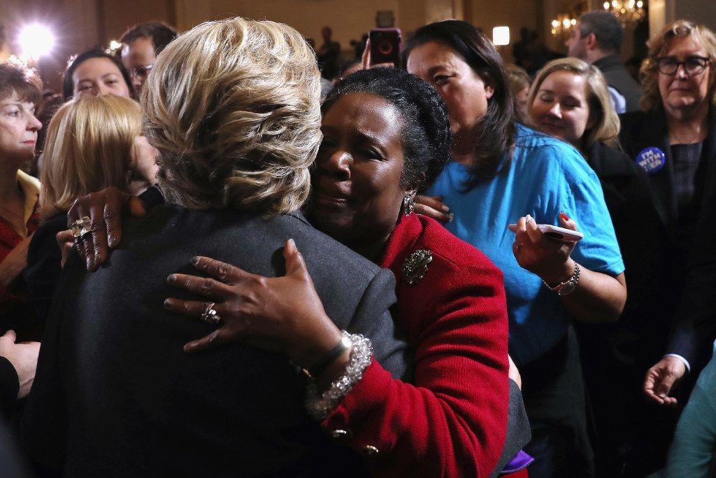 Hillary Clinton hugs Rep. Sheila Jackson Lee of Houston after conceding defeat.
