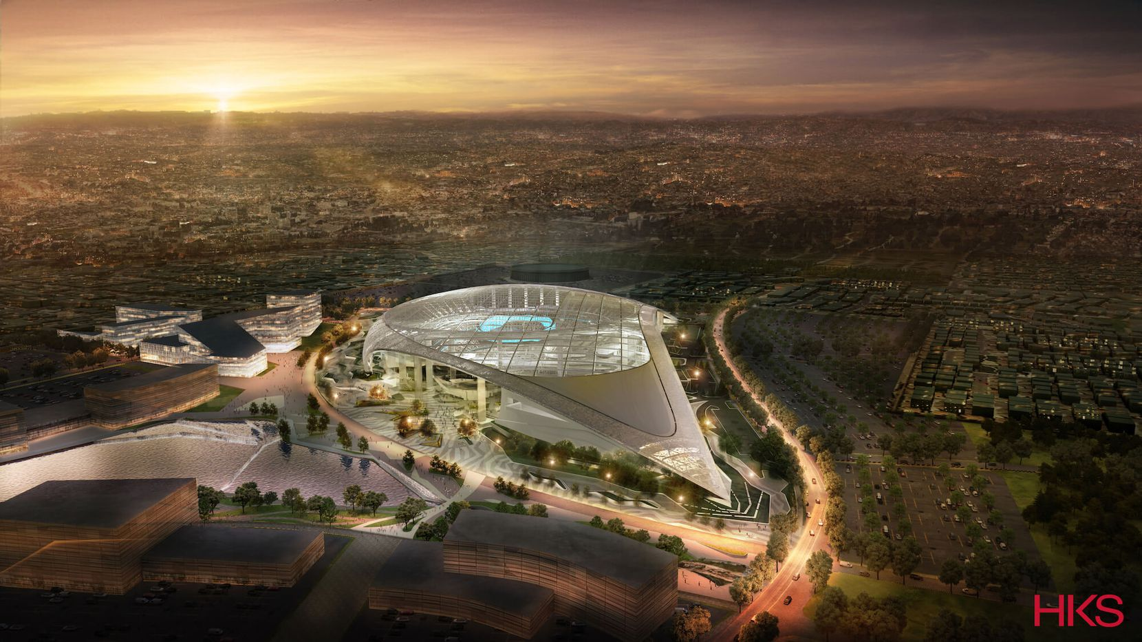 An aerial perspective from the south of the new stadium.