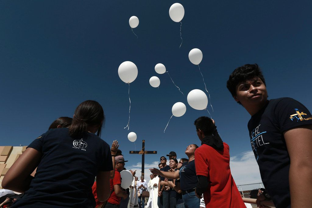 People release balloons during a Mass for peace in Ciudad Juarez, Mexico, on Aug. 10, 2019, marking the one-week anniversary of a shooting that killed 22 at a Walmart in El Paso.