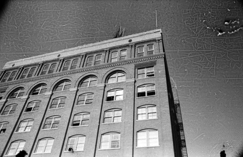 NOTE: This photo is subject to a perpetual license agreement to the Sixth Floor Museum dated November 2014 // TDMN JFK negatives collection / This is an enlargement of a photo taken by TDMN photographer Tom Dillard seconds after the assassination occurred / Note damage.