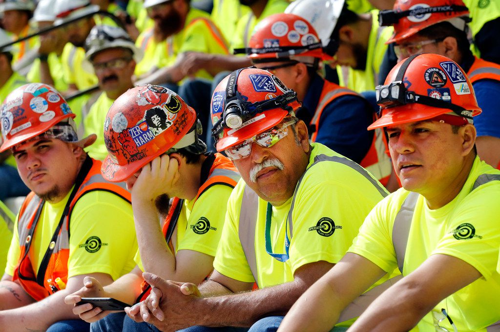 Construction workers building the new Rangers' Globe Life Field gathered to hear Loren Sweatt, assistant secretary of labor for occupational safety and health,  last month at the stadium in Arlington. Annual growth in the state's construction sector reached 6.6%, the fastest pace of any sector.