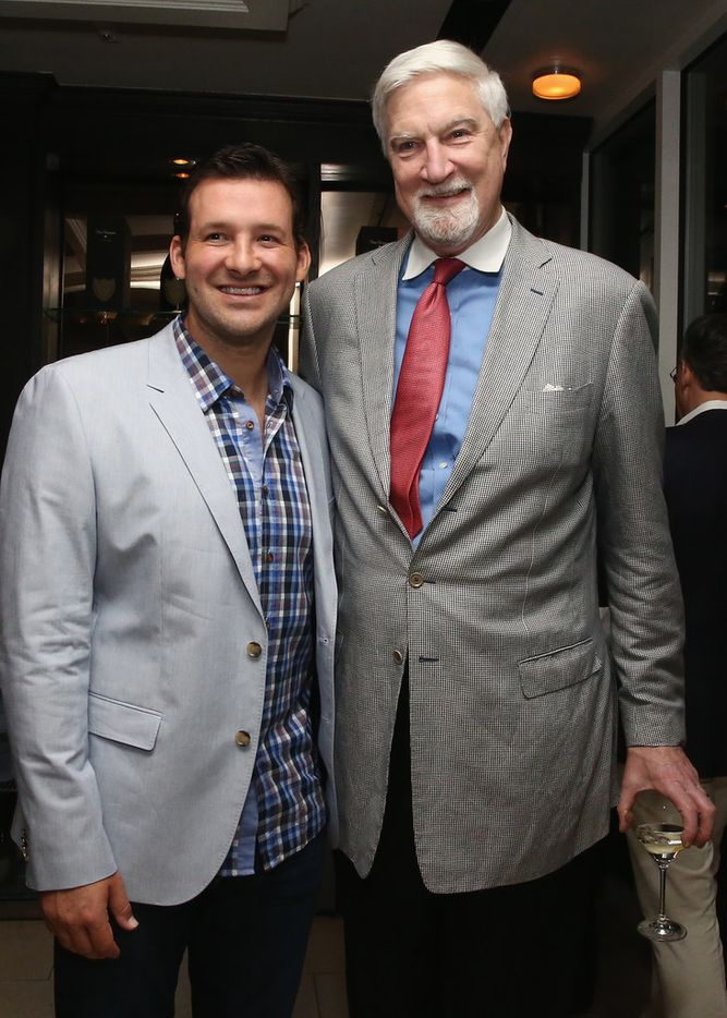 Tom McMillen with former Dallas Cowboys quarterback Tony Romo at the Dom Perignon and Eric Podwall celebration of the evening before The White House Correspondents' Dinner at Fiola Mare on May 2, 2014.  (Photo by Astrid Stawiarz/Getty Images for Dom Perignon)