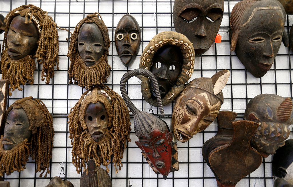 Masks are on display for sale at Pan African Connection in Dallas.