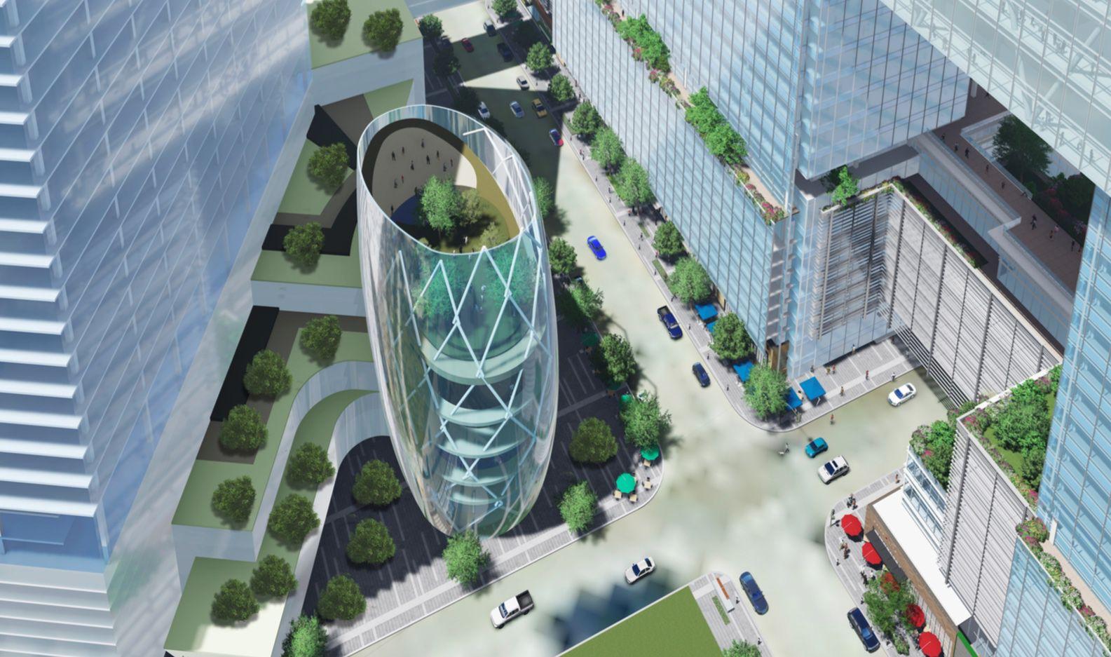 Dallas developer KDC and architect Pelli Clarke Pelli planned a 10-block campus for Amazon in downtown Dallas.