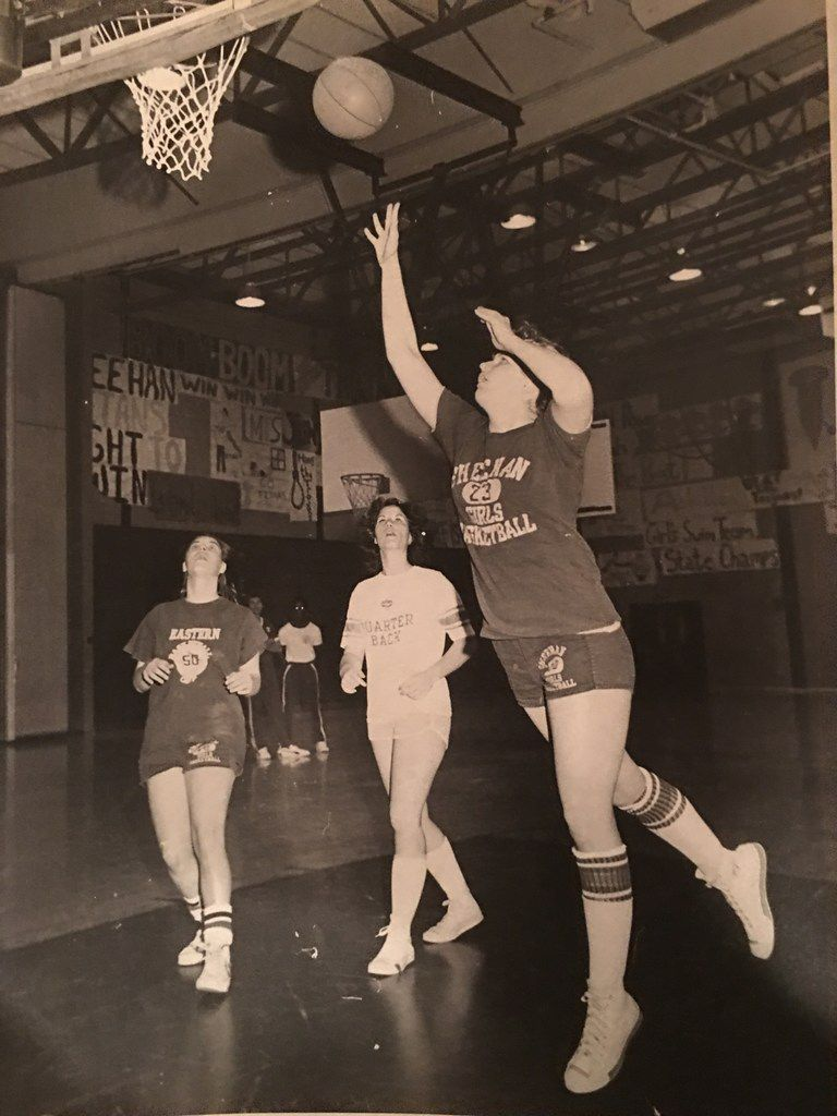 Kathleen Murphy (shooting) played forward for Sheehan High School in Wallingford, Conn., in 1979.