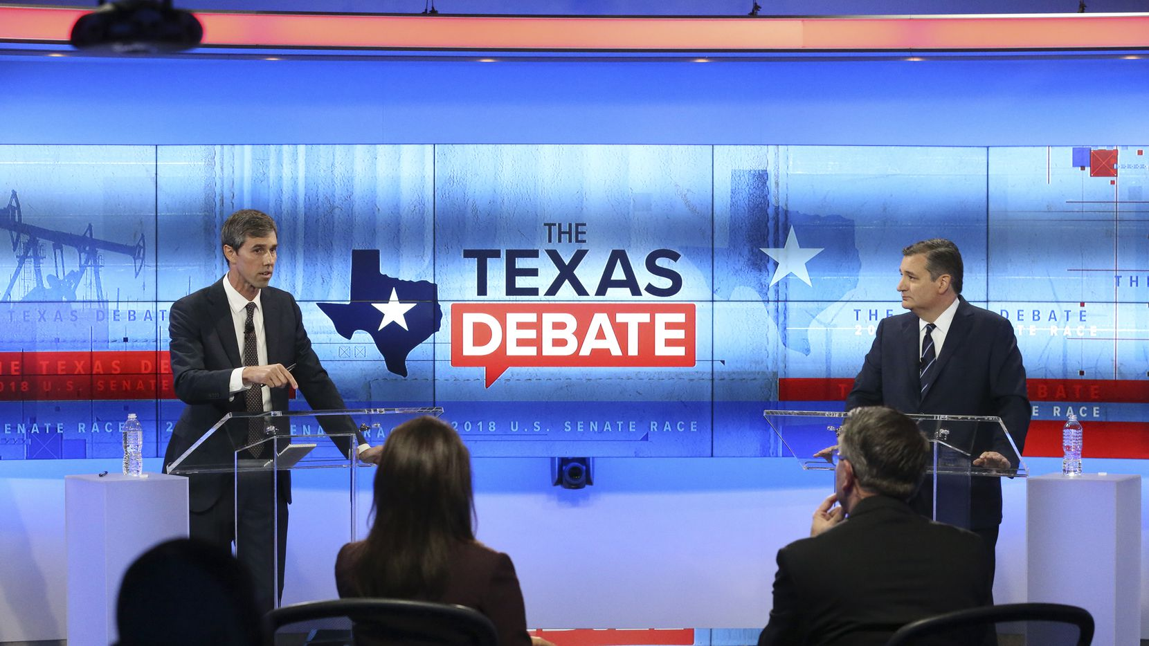 SAN ANTONIO, TX - OCTOBER 15:  U.S. Rep. Beto O'Rourke (D-TX) (L) and U.S. Sen. Ted Cruz (R-TX) face off in a debate at the KENS 5 studios on October 16, 2018 in San Antonio, Texas. A recent poll show Cruz leading O'Rourke 52-45 percent among likely voters.