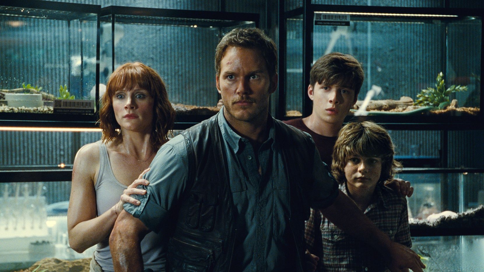 """Bryce Dallas Howard, from left, Chris Pratt, Nick Robinson and Ty Simpkins appear in a scene from the blockbuster hit, """"Jurassic World."""""""