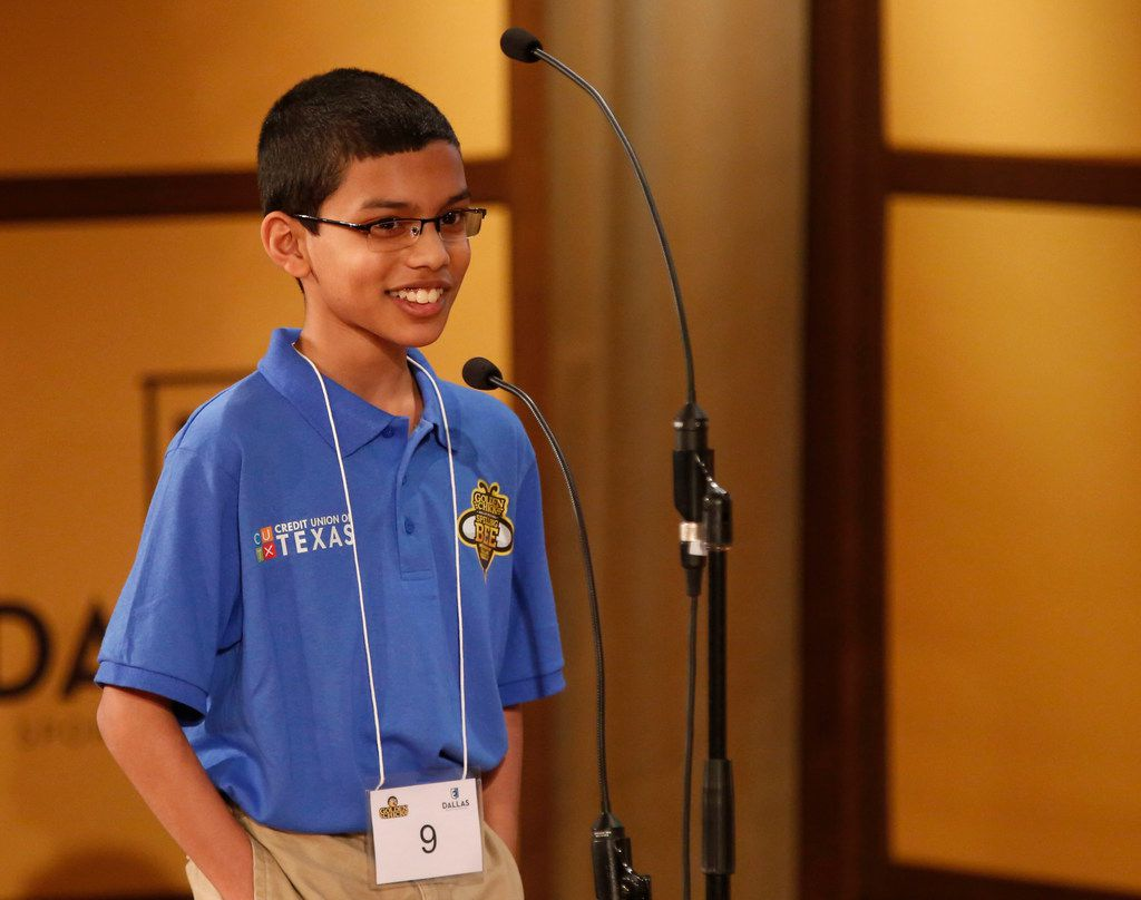 Sohum Sukhatankar, representing Dallas County private schools, barely missed out on a trip to the national bee Saturday. (Rose Baca/The Dallas Morning News)