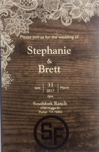 The invitation to Hoskins and Joseph's planned wedding at Southfork Ranch.