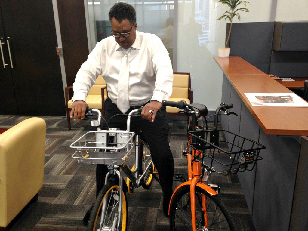 Dallas Mayor Pro Tem Dwaine Caraway tried out several of Dallas' rental bikes during a meeting in his office on Feb. 7, 2018.