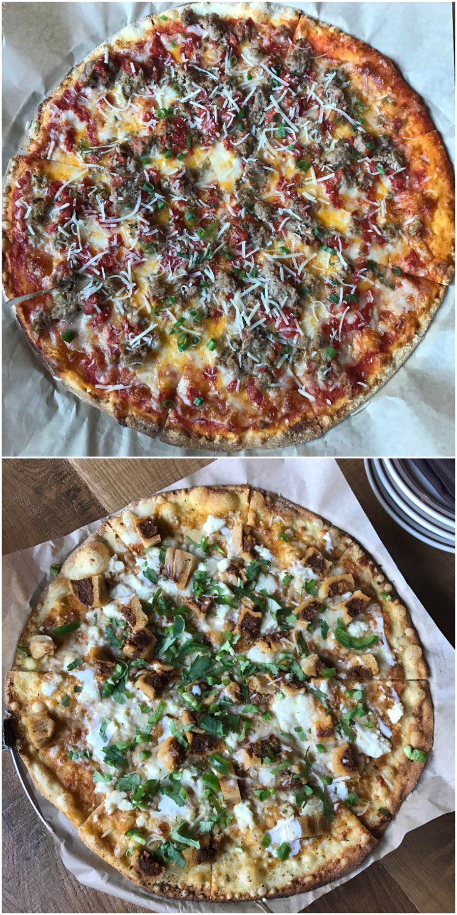 Top: The Trump Meatloaf Pie, Bottom: Clinton Ancho Pork Tamale Pizza