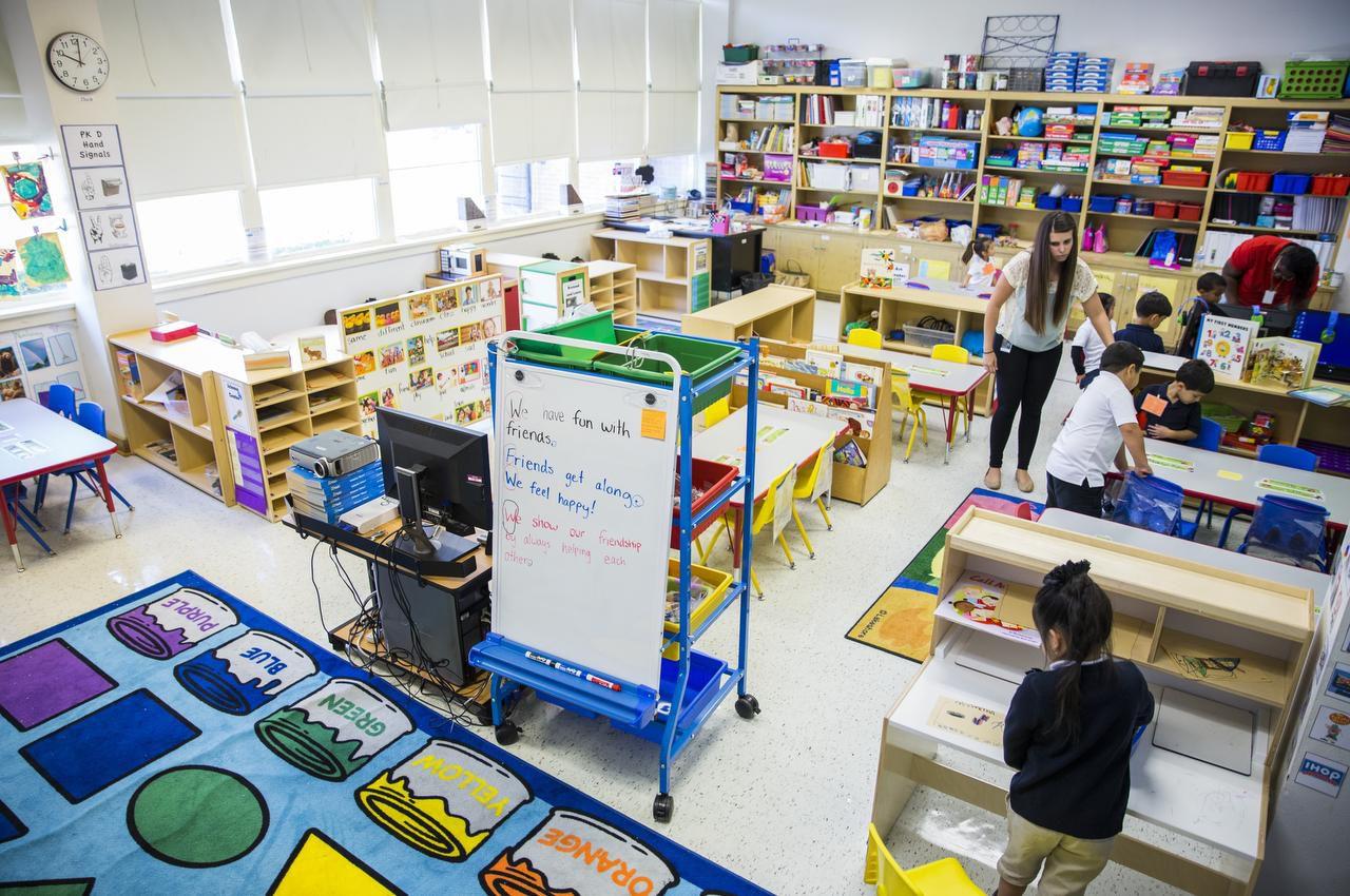 Teacher Katie Kaegi's pre-kindergarten classroom at Gill Elementary School in Dallas.