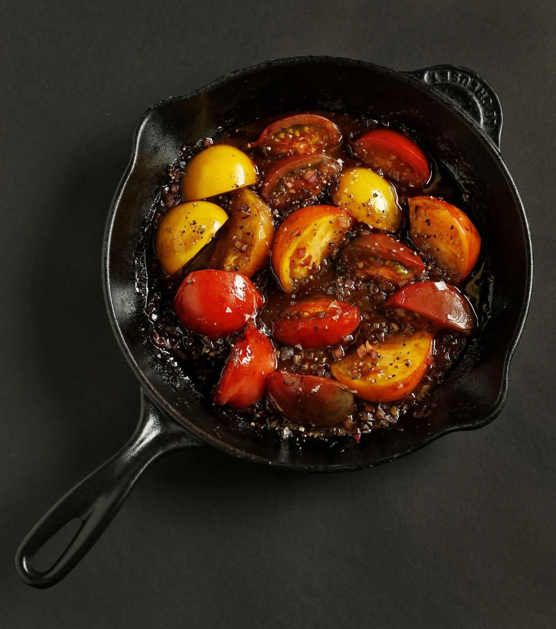 Glaze fresh tomatoes  with a splash of balsamic vinegar and butter for a simple but elegant presentation.
