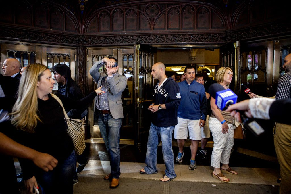 """Fans exit the Ed Sullivan Theater after the taping of the final episode of the """"Late Show with David Letterman."""""""