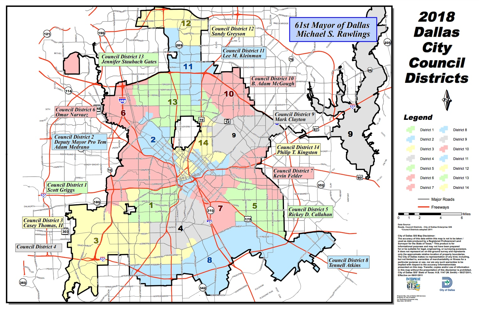 Así se dividen los 14 distritos de concejal de la municipalidad de Dallas. (Fuente: Dallas City Hall)