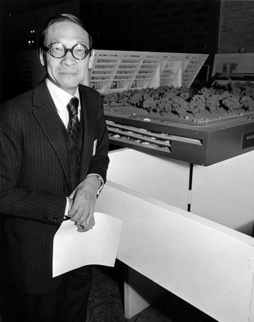 March 4, 1970 - Architect I. M. Pei is photographed with a model of his design for a new Dallas City Hal