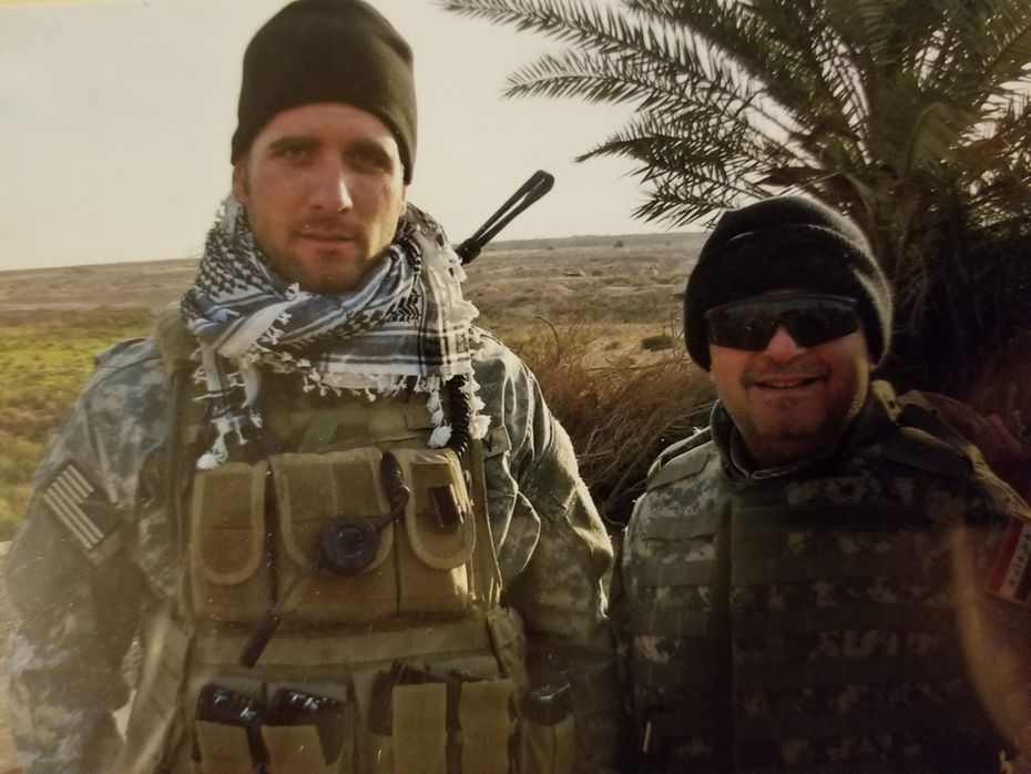 Terrence Kamauf (left) in Iraq in 2008, when he was a Green Beret.