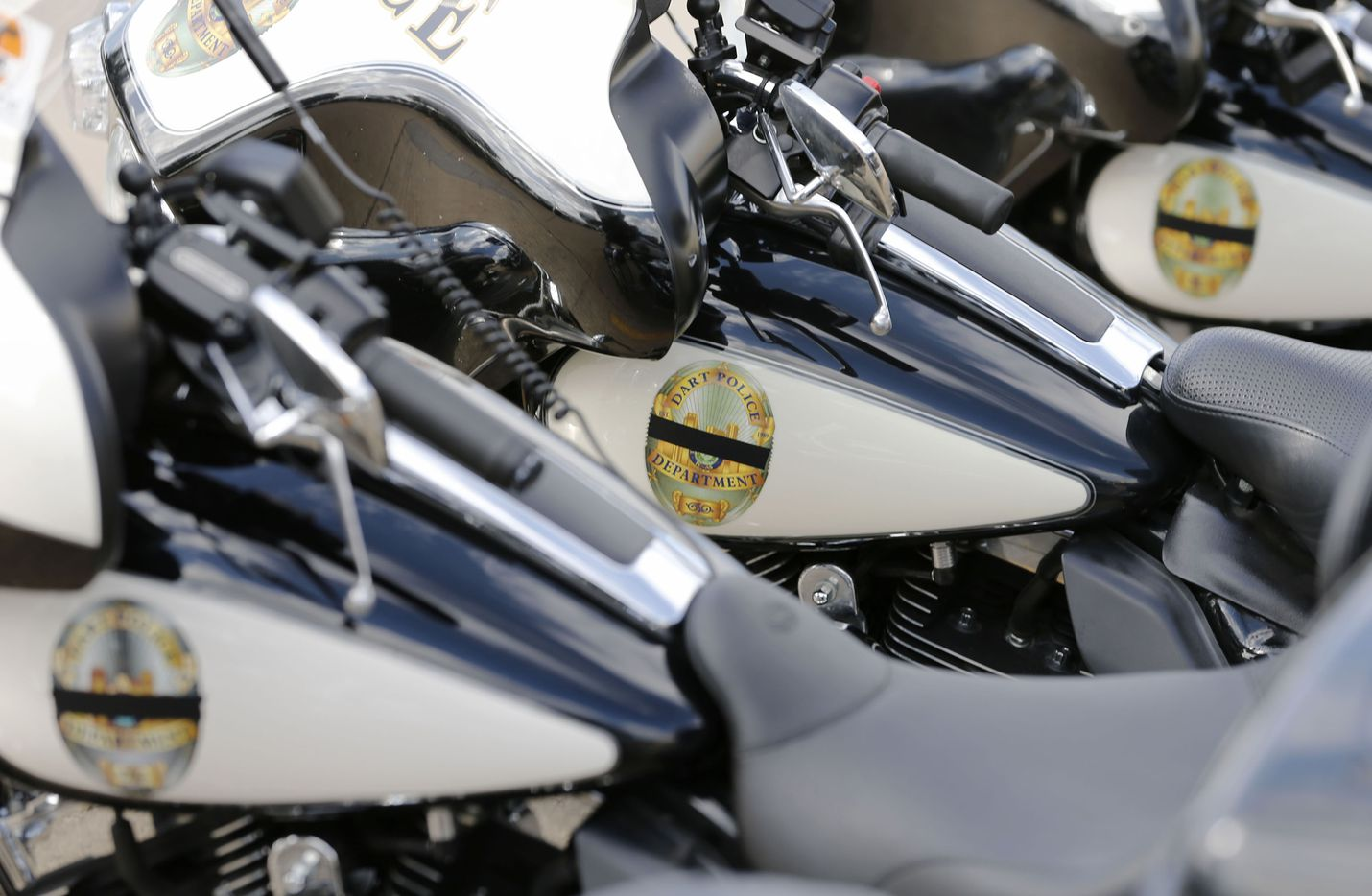 DART motorcycles parked out front during a memorial service for DART Officer Brent Thompson at The Potter's House in Dallas on Wednesday, July 13, 2016. Thompson was one of five officers killed last week when a gunman opened fire during a Black Lives Matter rally in downtown Dallas.