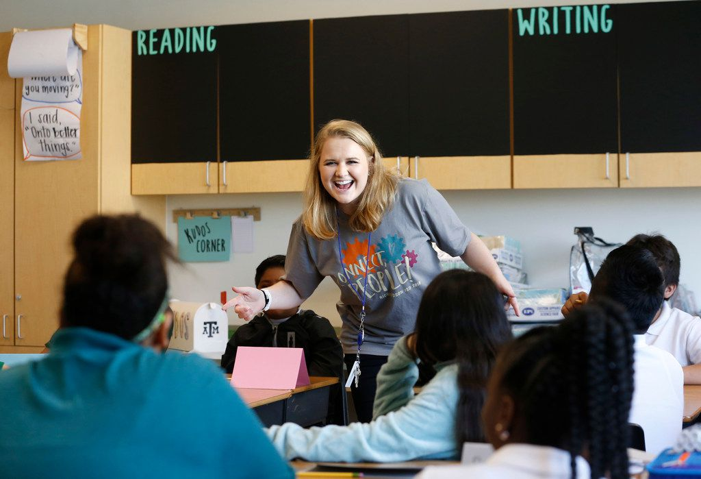 Caroline Rodgers teaches during her 6th-grade class at Carolyn G. Bukhair Elementary School in Dallas on Monday. Rodgers' grandmother is Carolyn Bukhair, the school's namesake.