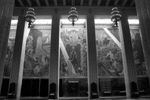 Not so long ago, the giant murals in the Great Hall of the Hall of State at Fair Park started to deteriorate due to water seepage. One in a series of problems ... (File photo)