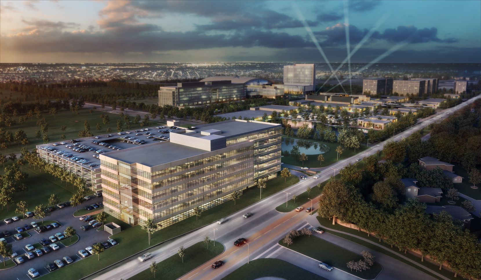 The first Frisco Station office building will be next door to the Dallas Cowboys' new headquarters and practice facility on Warren Parkway west of the Dallas North Tollway. (HKS)