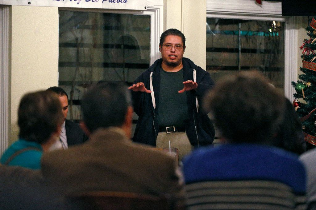 Raul Reyes Jr., a leader in the Los Altos Neighborhood Association, tells the Tejano Democrats it's important that actual residents of West Dallas be part of any solution to stabilize the neighborhoods. The Los Altos group has been working on its stabilization plan with housing experts, said the homeowner. (Nathan Hunsinger/Staff Photographer)