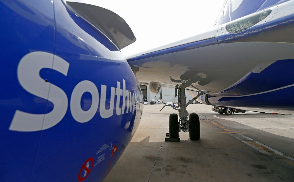 A landing gear of a Southwest Airlines' new plane, the 737 Max, at headquarters in Dallas, Tuesday, Sept. 12, 2017. (Jae S. Lee/The Dallas Morning News)